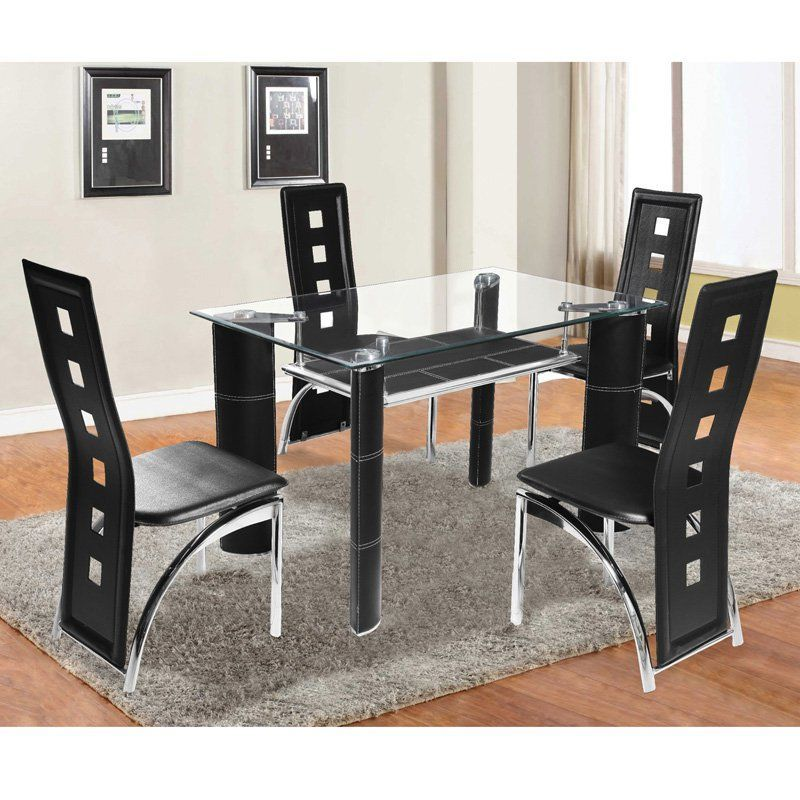 Home Source Broadway 5 Piece Glass Top Dining Set   21500