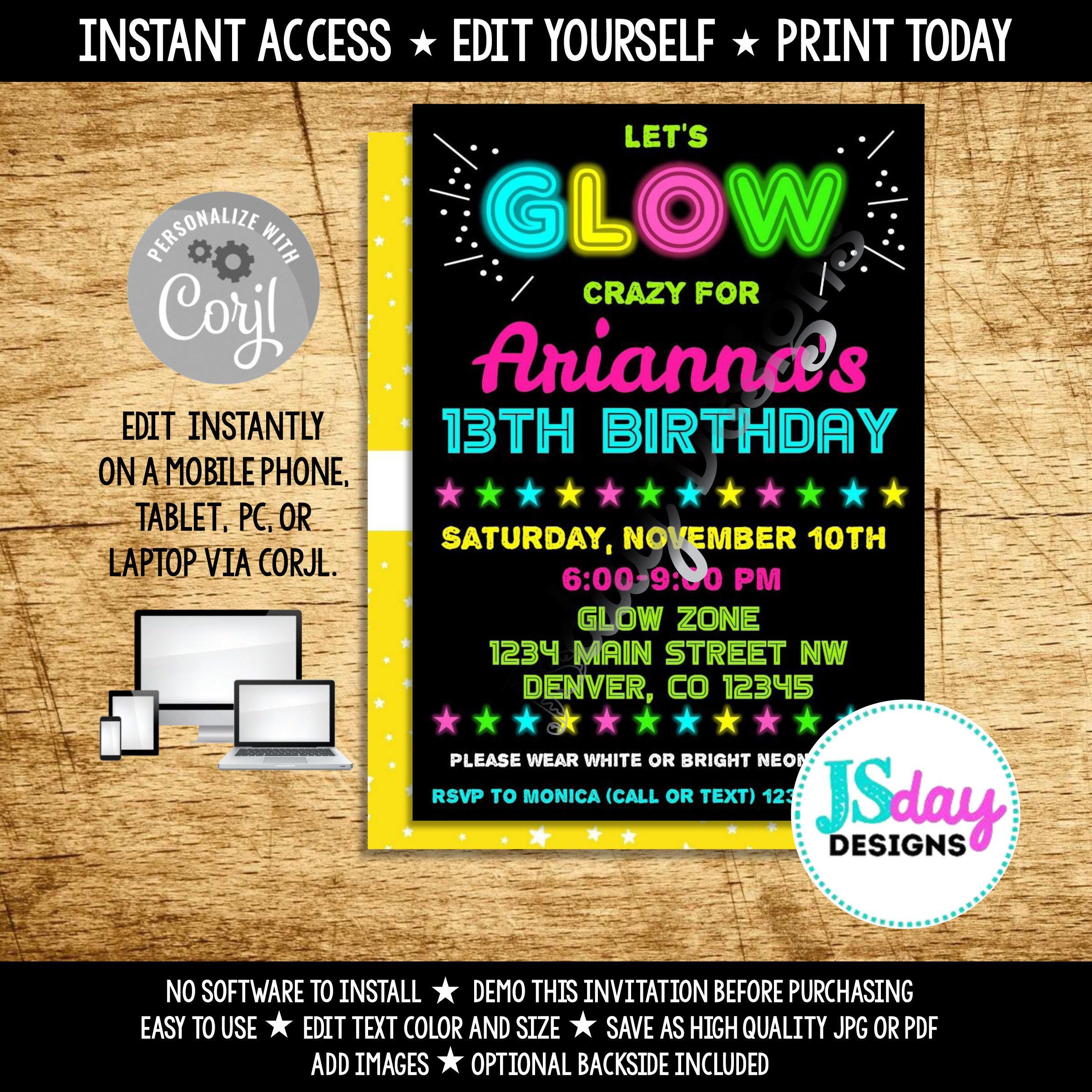 Edit Yourself Glow Crazy Birthday Invite In The Dark Party Neon Black Light Invitation DIY Corjl Instant Download Tween