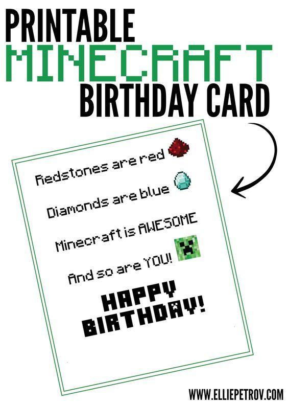 Free Printable Minecraft Birthday Card Minecraft Pinterest