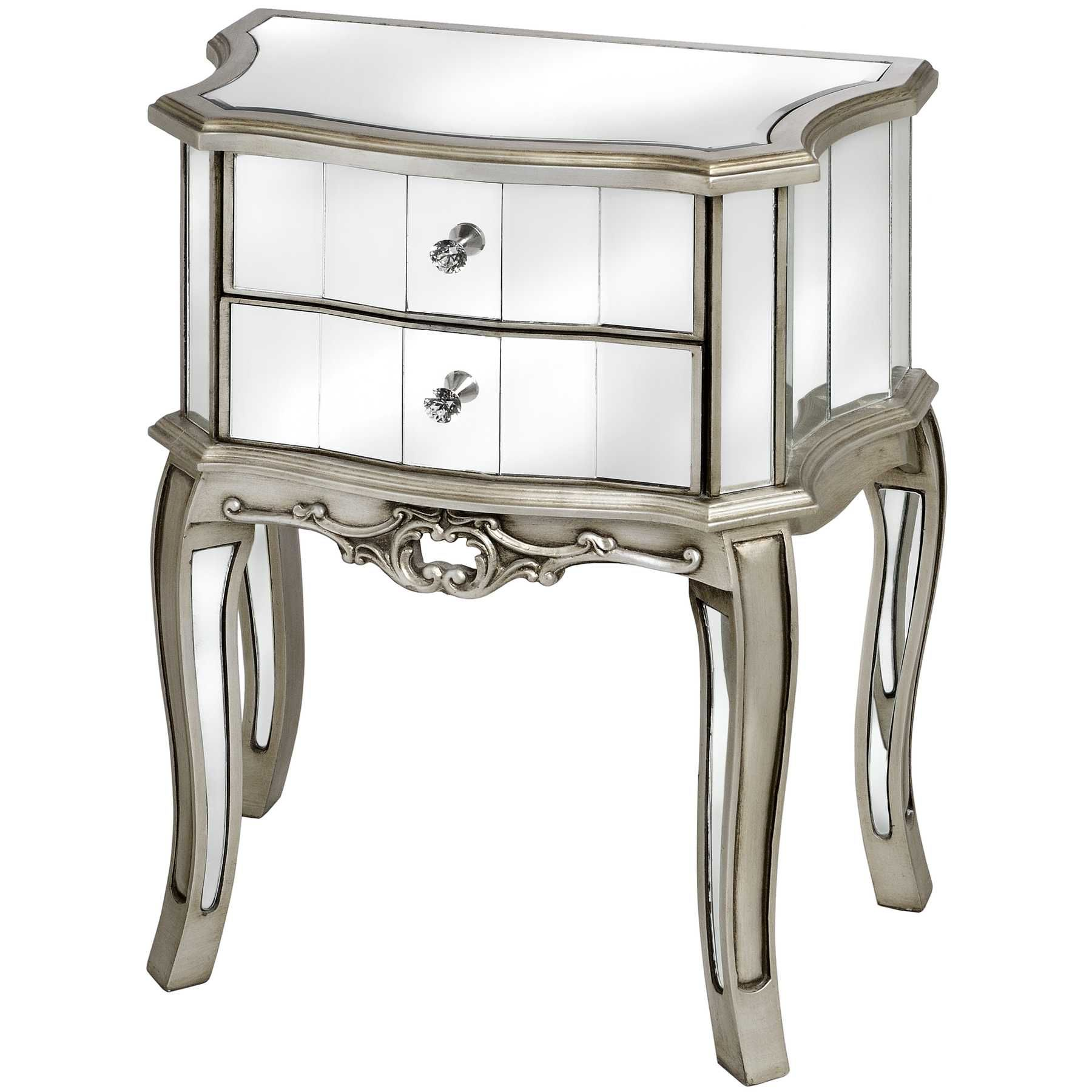 Tasteful Mirrored Two Drawer Bedside Table With Carving Frame Leg As  Decorate Mediteranian Bedroom Decor Ideas