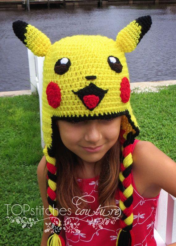 Pikachu Crochet Hat Pokemon Go Pokemon Hat by TOPstitchesCrochet ...