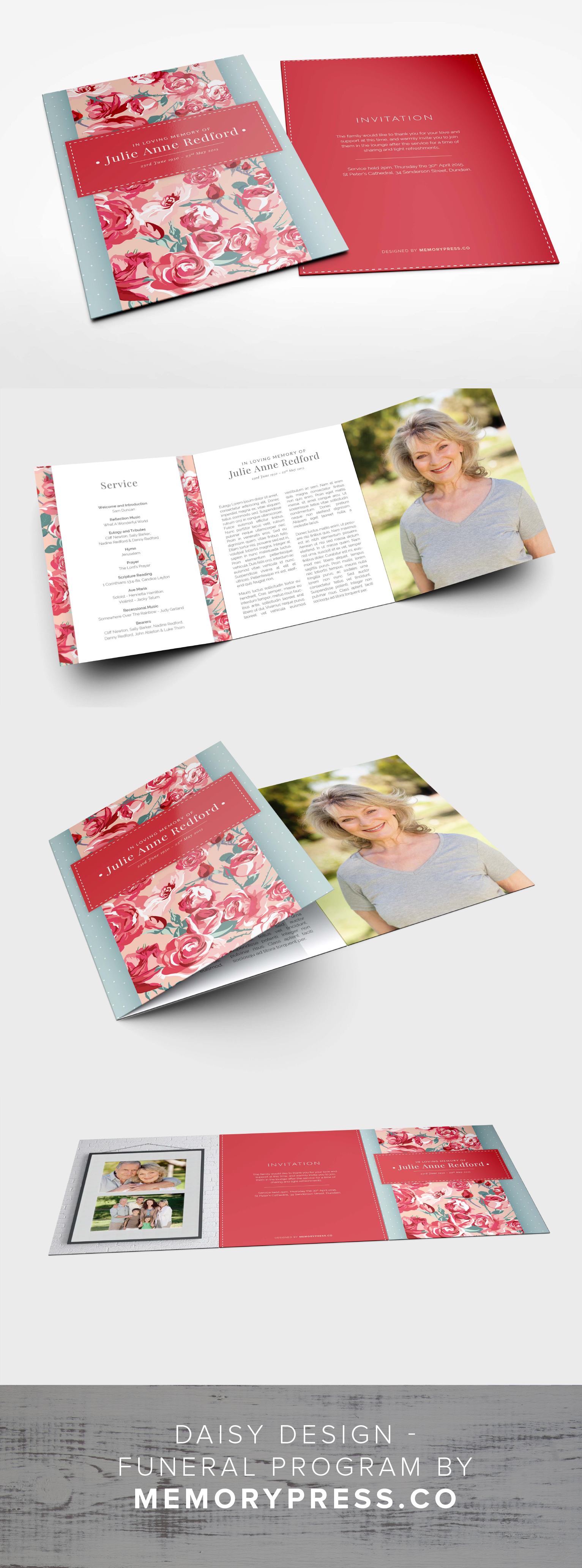 Daisy Funeral Program Design  Program Template Funeral And