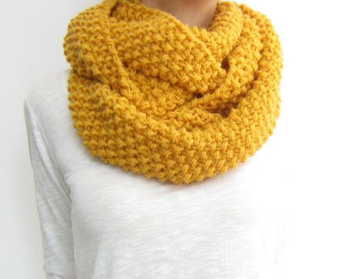 Knitting Loop Scarf : Honey gold infinity scarf knit loop yellow snood mama