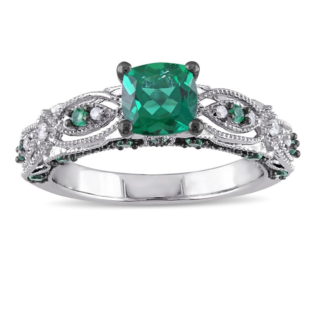 Miadora 10k White Gold Cushioncut Created Emerald And Diamond Accent  Vintage Engagement Ring By Miadora