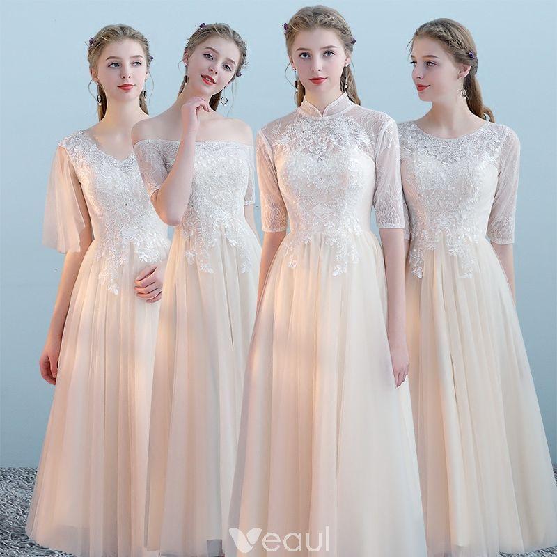 6b56966160 Elegantes Champán Vestidos De Damas De Honor 2018 A-Line   Princess Apliques  Con Encaje Té De Longitud Ruffle Sin Espalda Vestidos para bodas