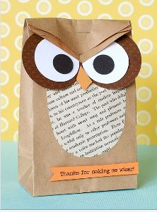 Owl Party favor bag.  Would be easy, cheap, and customizable for the shower/colors.  I could fill it with fun little goodies and make them short and fat.