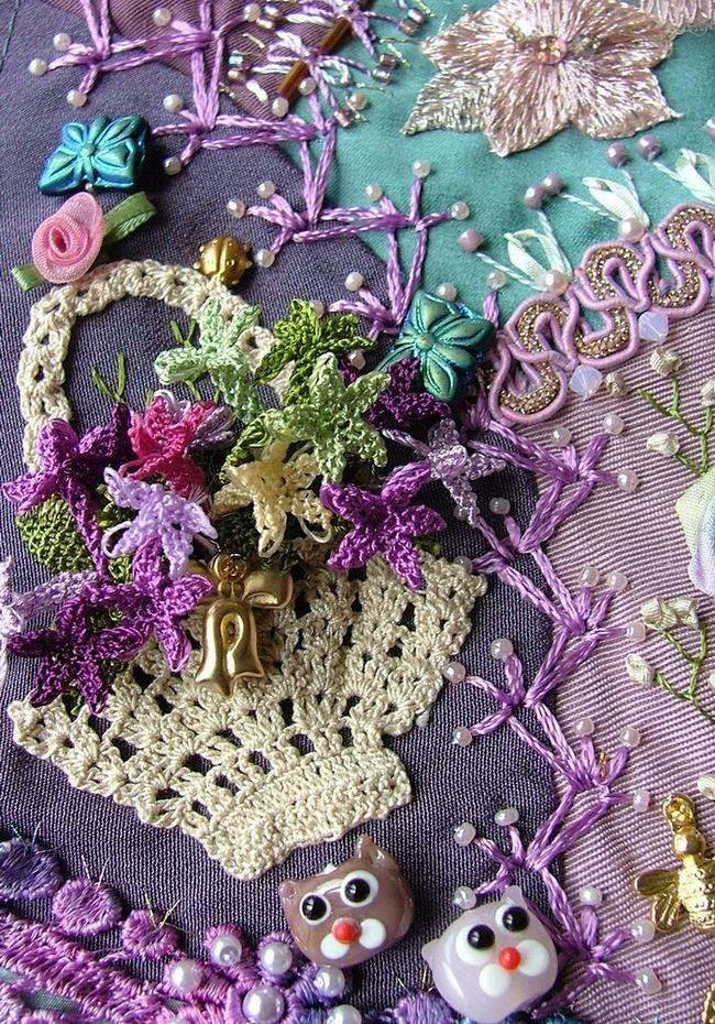 crazy quilts   crazy quilting . . . Rengin's Colors   Crazy Quilting...crochet applique lampwork beads