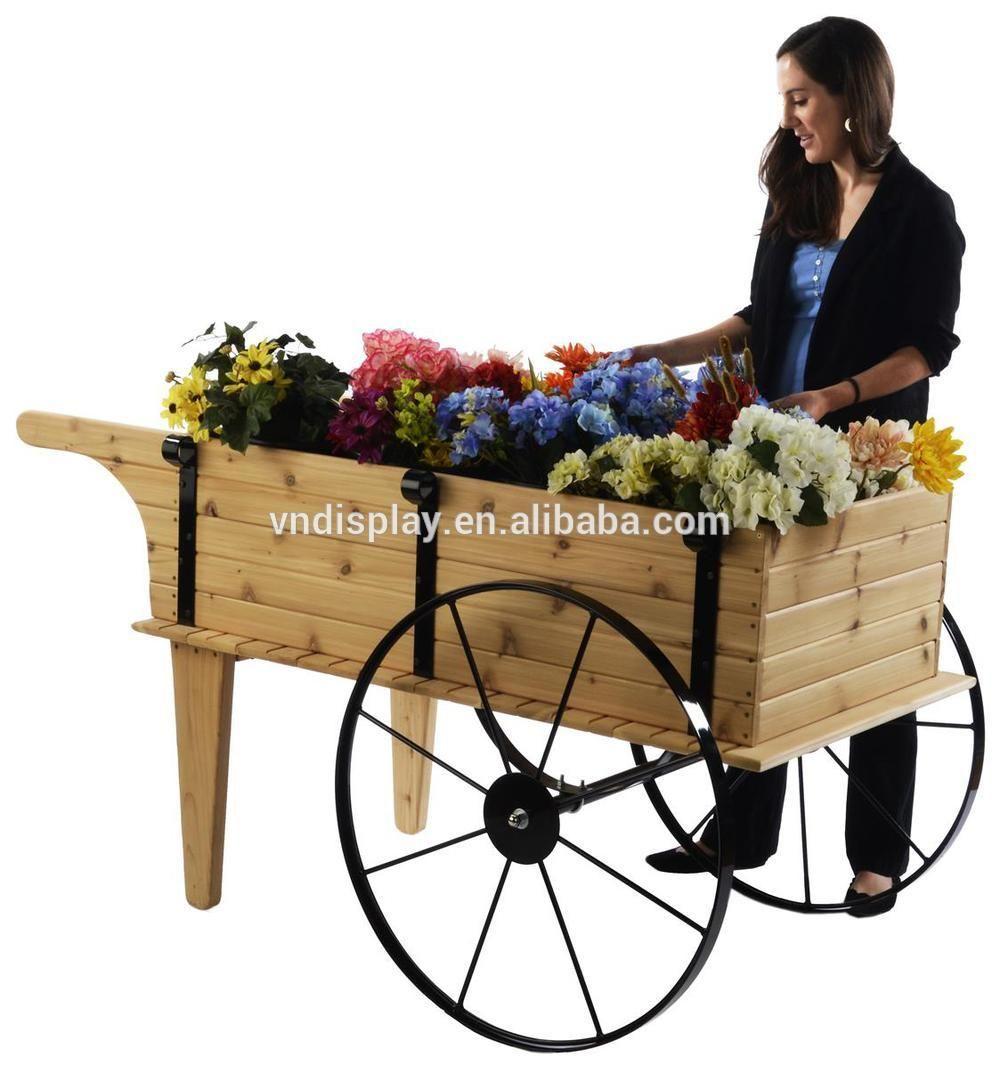 Pantalla de jard n flor planta carro de madera z calo for Carritos de madera para jardin