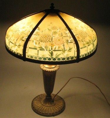 Antique Pittsburg Art Nouveau Reverse Painted Glass Panel Lamp C