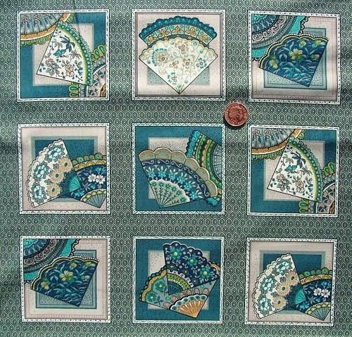 Oriental Fans Blue Card Squares fabric Fabric Freedom F465-6