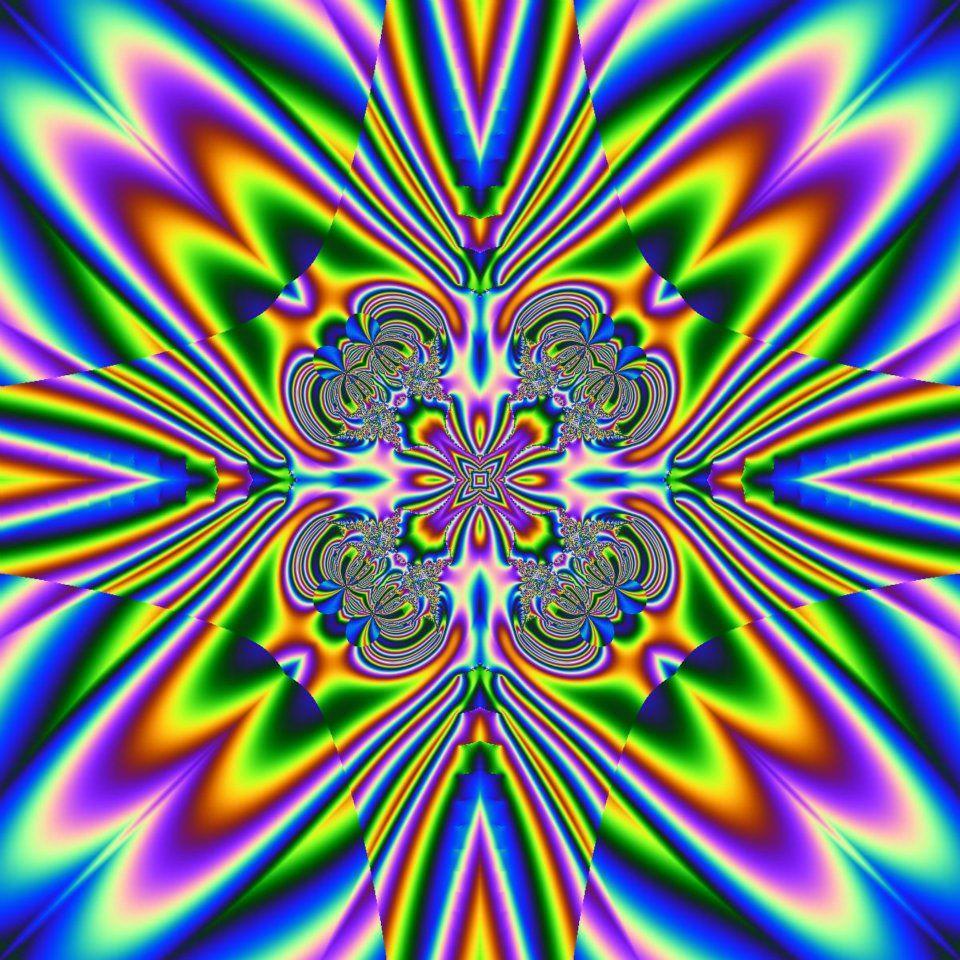 Rainbow Diamond Rays Fractal Art Plum Art Peace Sign Art