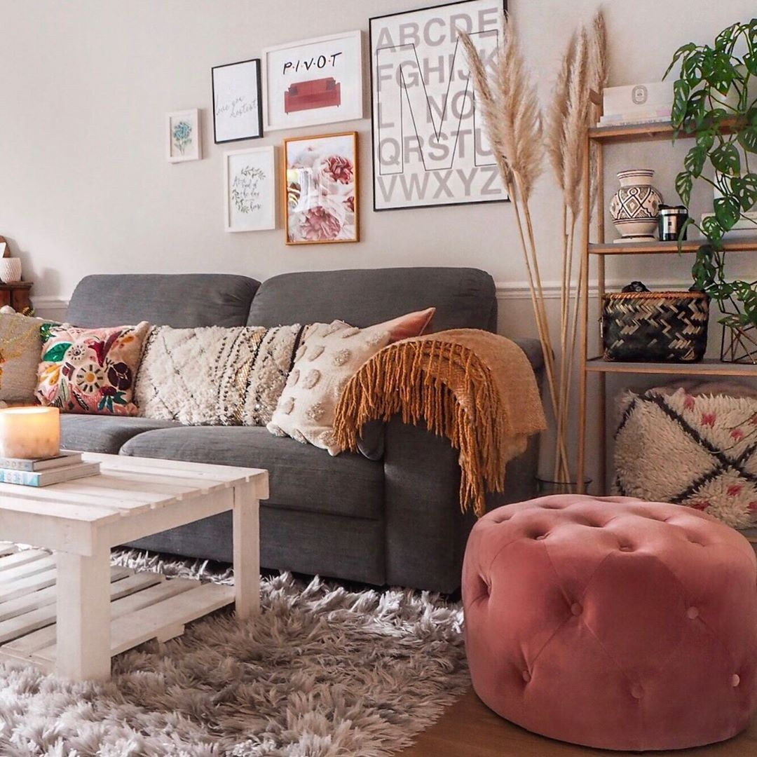 Grey Sofa With Boho Soft Furnishings In The Living Room I Love The Pink Button Backed Pouf Soft Furnishings Living Room Grey Sofa Living Room Soft Furnishings