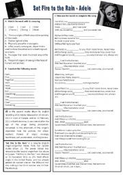 English worksheet: Song: Set Fire to the Rain - Adele | WORKSHEETS ...