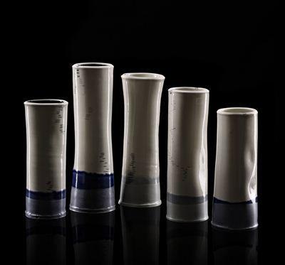Limfjorden, porcelain handmade vases. Limfjorden, håndlavede porcelæns vaser