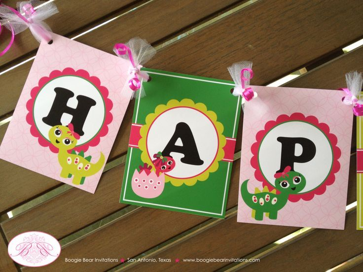 Dinosaur Happy Birthday Party Banner Pink Girl Green Lime Magenta Bow Spot Dot Little 1st 2nd Dinosaur Happy Birthday Party Banner Pink Girl Green Lime Magenta Bow Spot D...