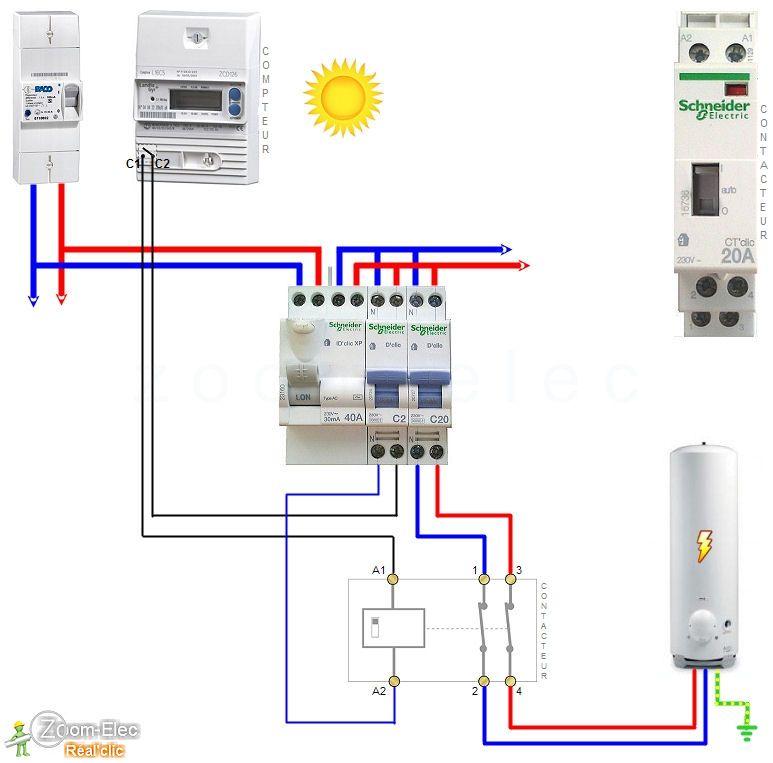 Sch ma contacteur jour nuit chauffe eau en mode marche forc e engineering - Chauffe eau electrique comment ca marche ...