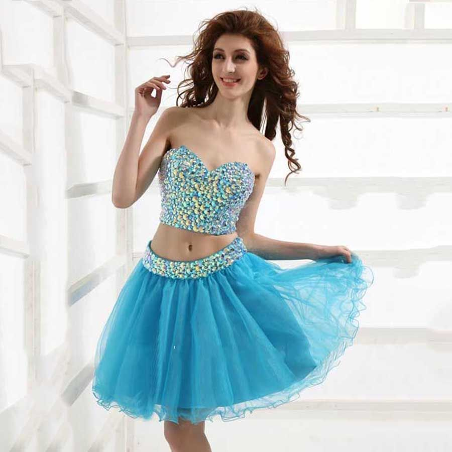 Girlish Sexy Sweetheart Graduation Dress with Crystals Sparkle Blue ...