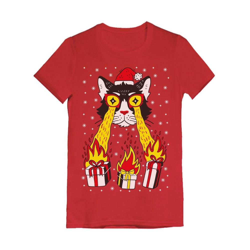 Holidays Funny Laser Eyes Xmas Cat Ugly Christmas Girls Fitted Kids T-Shirt Clothing & Accessories