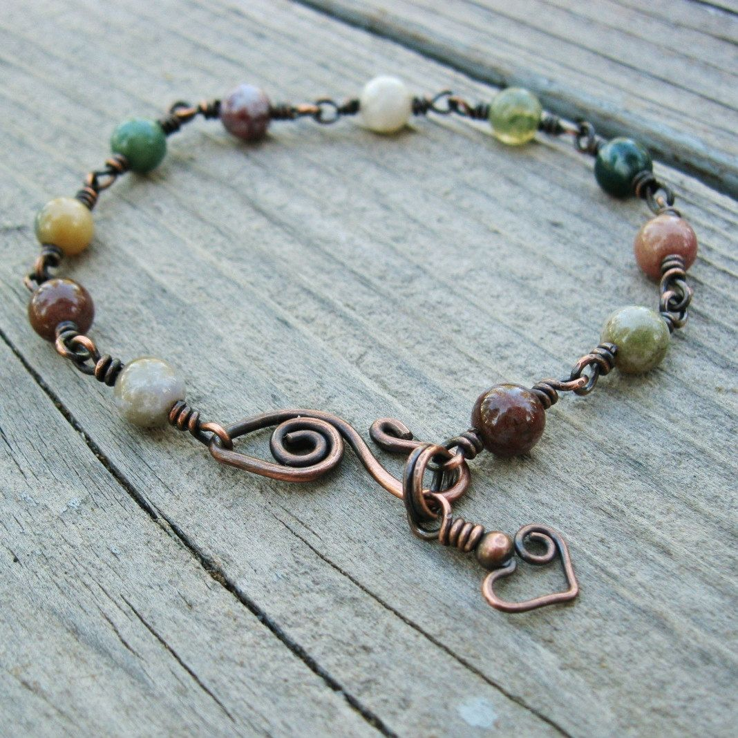 Wire Bracelets With Charms: Fancy Jasper Stone Beads And Antiqued Copper Wire Wrapped