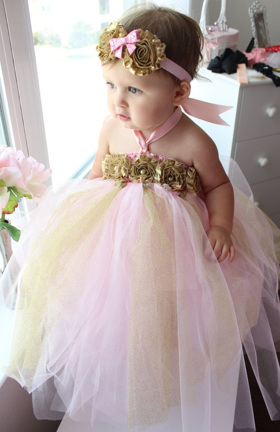 Pink and Gold Flower Girl Dress Pink Pink and Gold 1st Birthday Dress Mint and Gold Birthday Tutu Dress