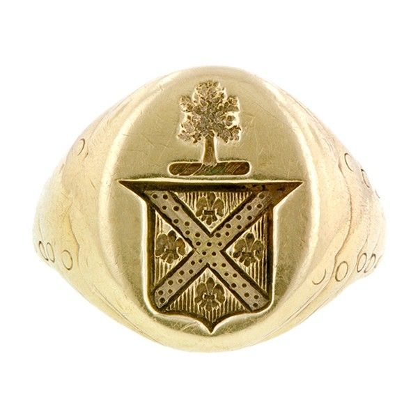 Vintage Signet Ring:: measuring app. 18mm at widest, featuring a crest, fashioned in 14k. Circa 1940. Size 9.25