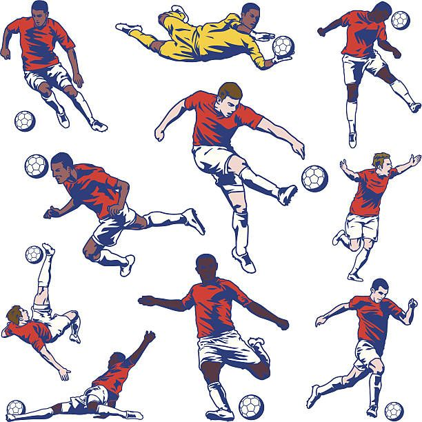 Soccer Player Set Vector Art Illustration Football Illustration Football Player Drawing Soccer Drawing