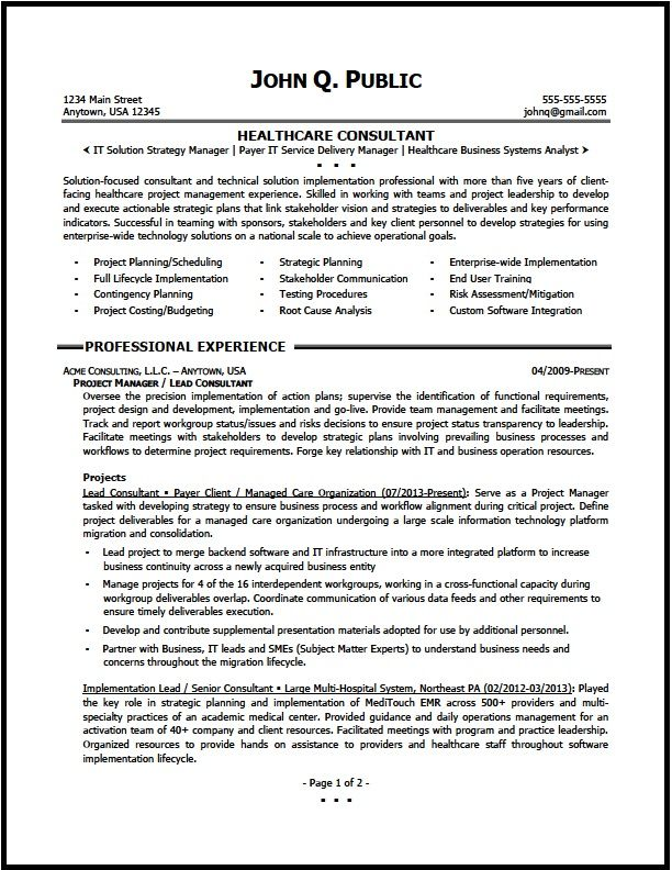 Healthcare Consultant Resume Sample The Clinic Templates Amp Samples Job Resume Samples Project Manager Resume Resume Examples