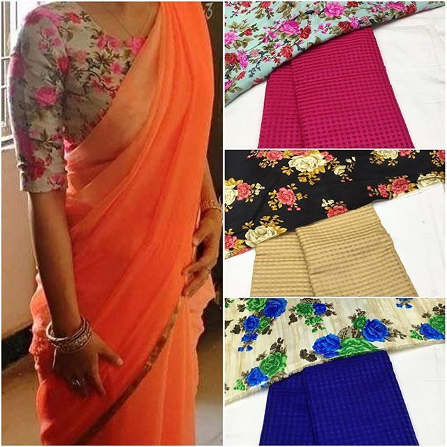 Plain Georgette Saree With Floral Blouse Piece To Purchase