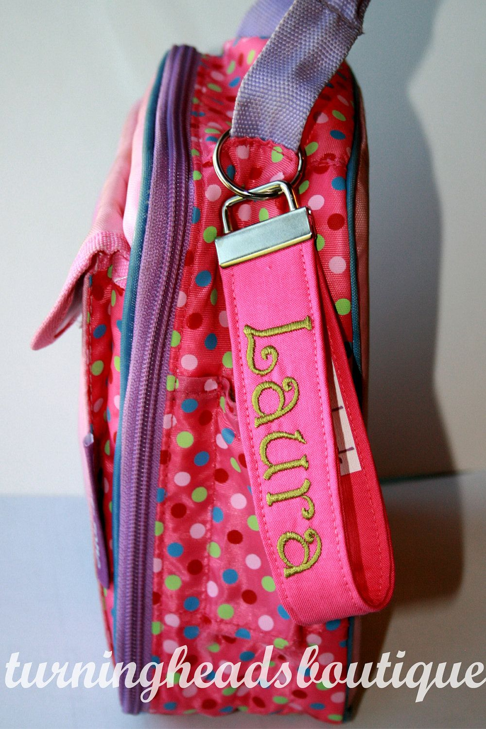 Monogrammed Lunch Box Tag Personalized Zipper Pull Backpack Tag