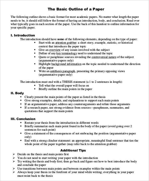 Research Paper Outline – Research Paper Outline Template