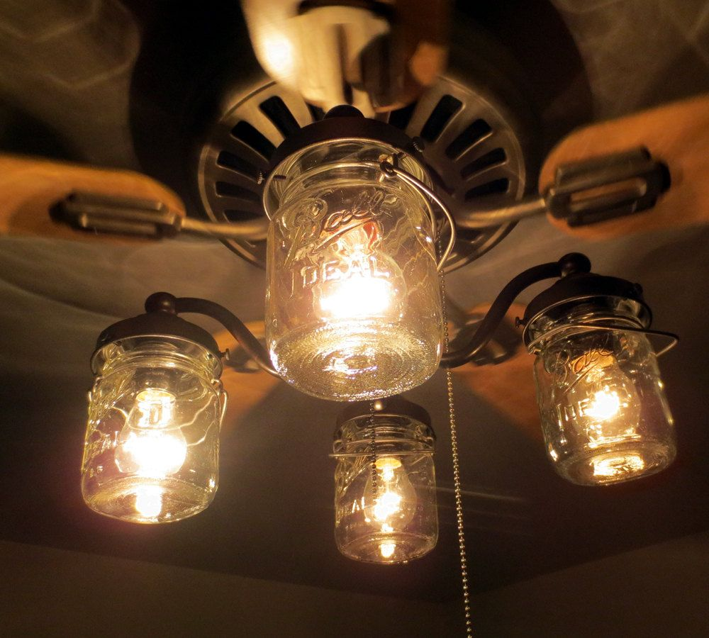 mason jar ceiling fan light kit new quart jars | mason jar light