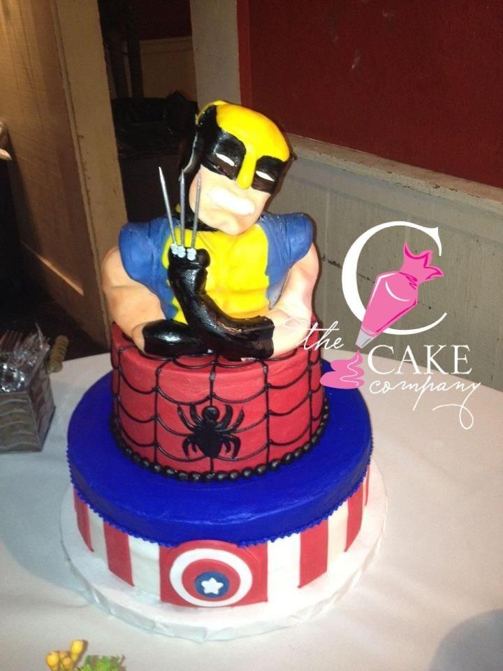 Wolverine, spiderman, and captain America cake