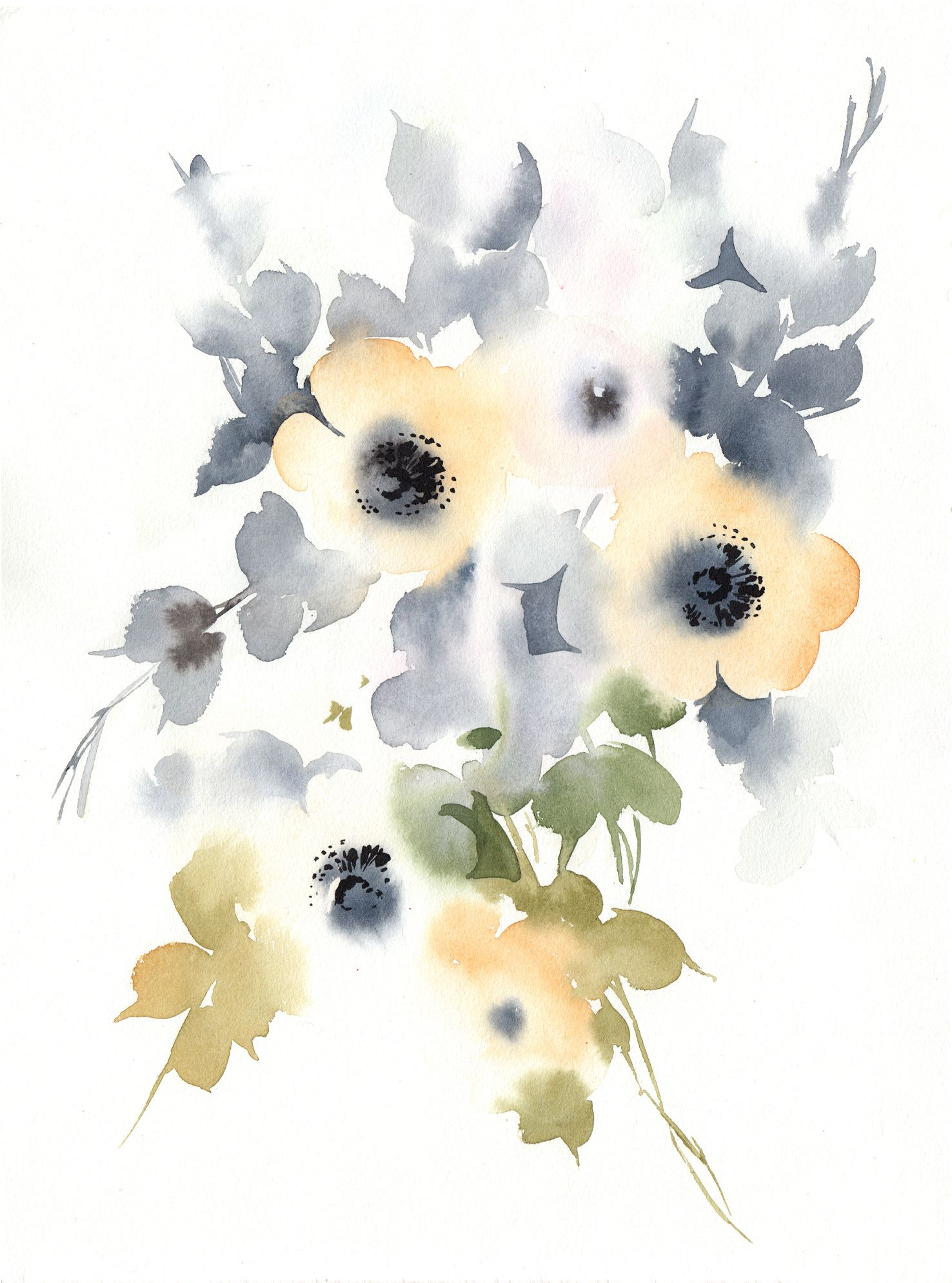Printable Watercolor Yellow Anemone Flowers Wall Art Botanical Loose Flowers Wall Art Abstract Flowers Art Nursery Floral Wall Decor In 2020 Abstract Floral Art Abstract Flowers Botanical Illustration Watercolor