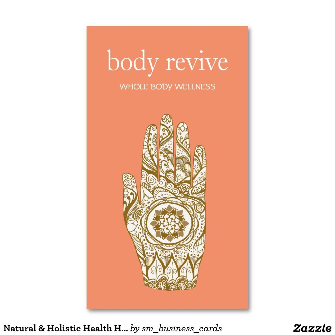 Natural Holistic Health Henna Lotus Hand Orange Business Card