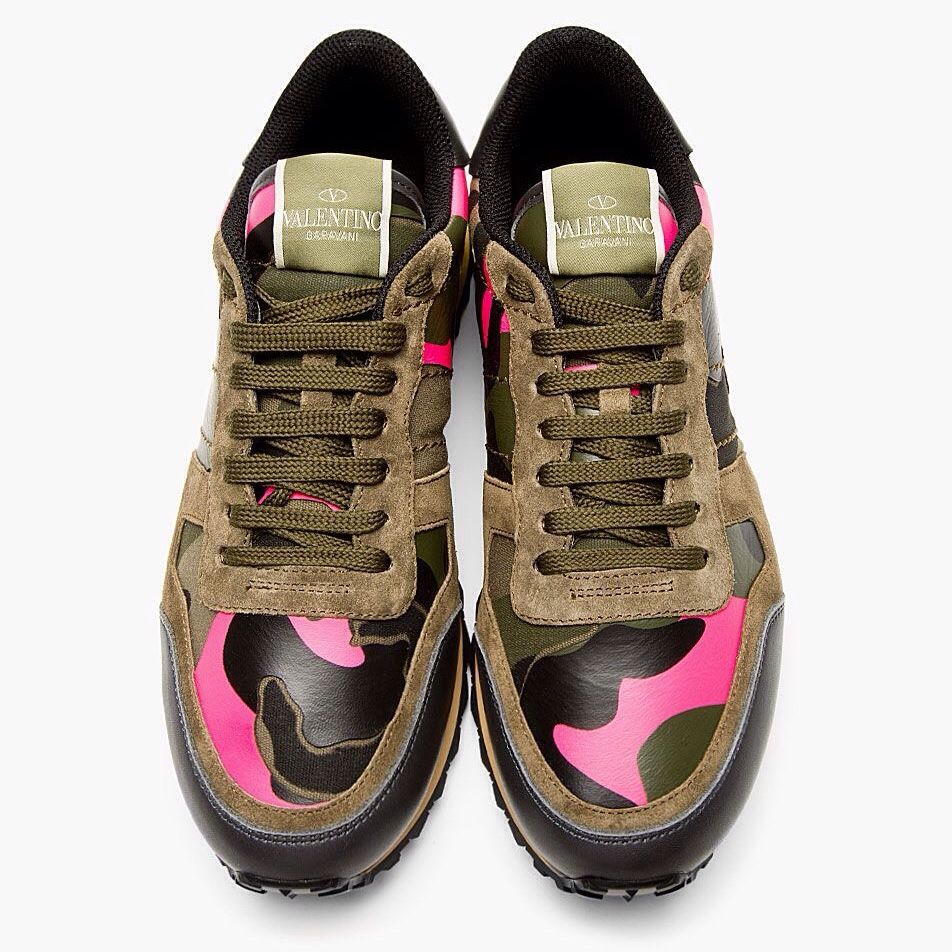 F/W 2014 Rockrunner Pink/Green Camo Sneakers   Valentino