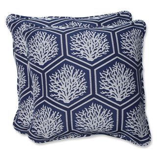 Pillow Perfect 18.5-inch Throw Pillow with Bella-Dura Seascape Navy Fabric (Set of 2)