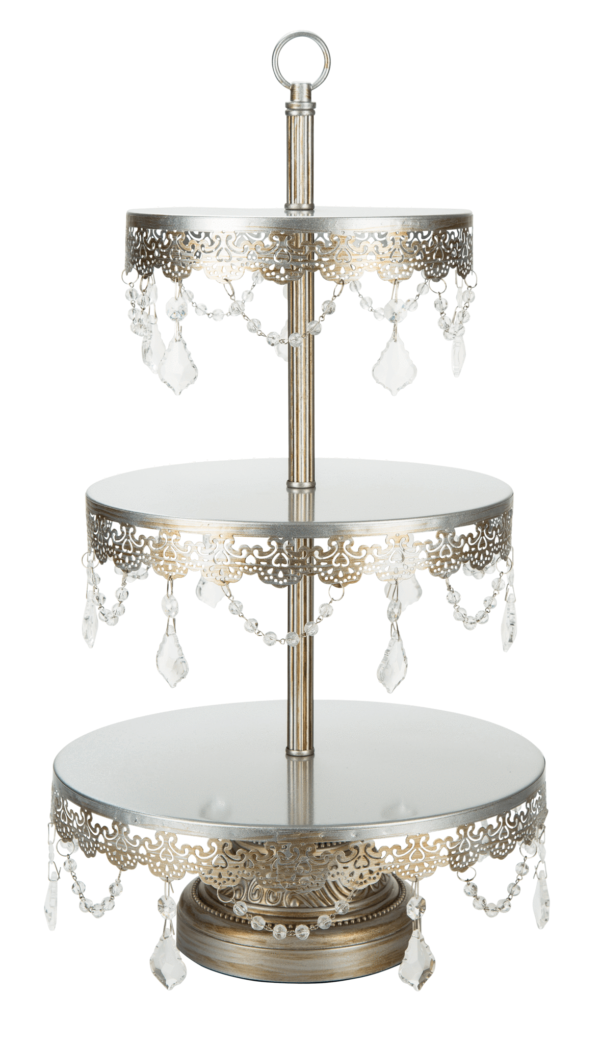 3 Tier Crystal Draped Dessert Stand Silver Sophia Collection