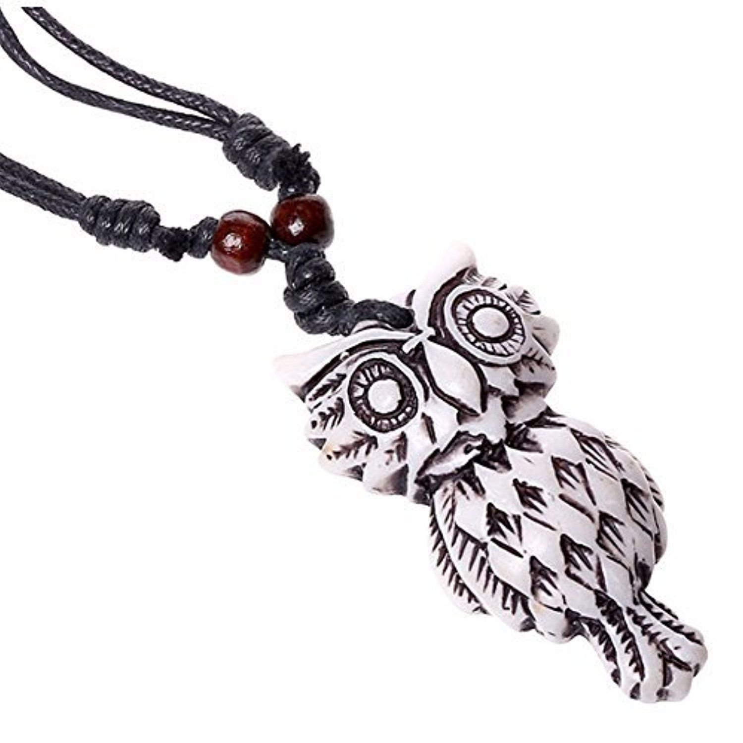 SumBonum Jewelry Mens Womens Resin Wax Rope Necklace, Adjustable Vintage Beads Owl Pendant Necklace, Black White by SumBonum -- Awesome products selected by Anna Churchill