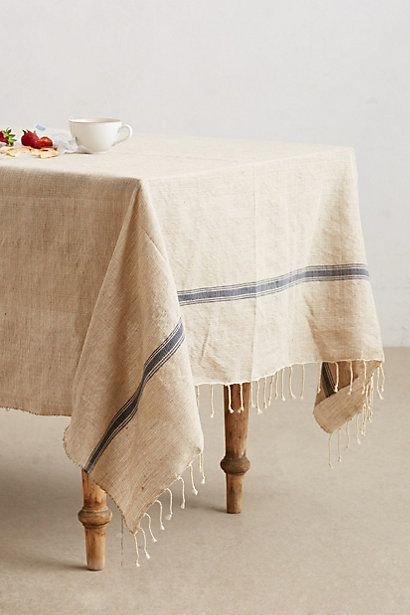 Lost Found Striped Jute Tablecloth Table Cloth Home Interior