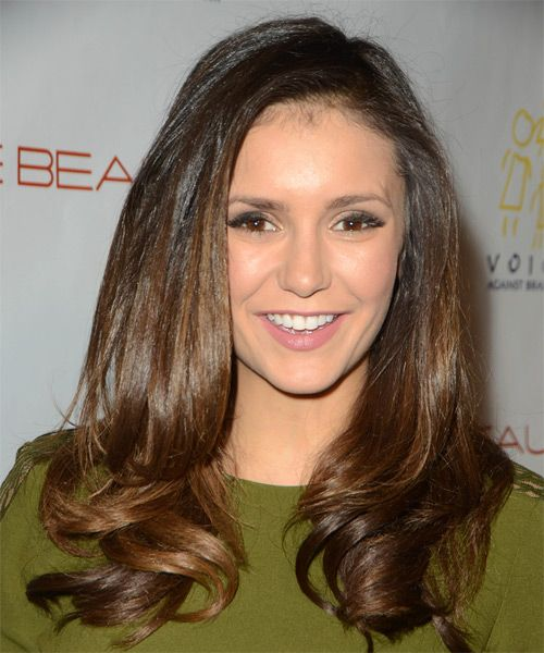 Nina Dobrev Long Wavy Hairstyle. Try on this hairstyle and view styling steps! http://www.thehairstyler.com/hairstyles/formal/long/wavy/Nina-Dobrev-elegant-long-hairstyle