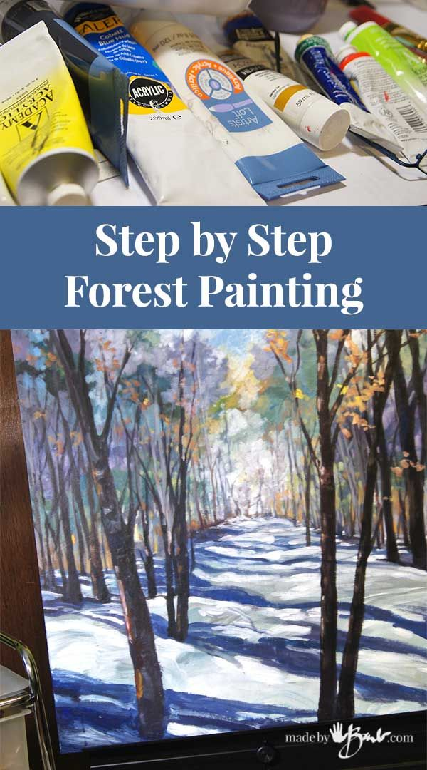 Step by Step Forest Scene Painting  Made By Barb  easy instructions is part of Painting art projects, Forest painting, Art painting, Painting, Painting tutorial, Step by step painting - Become an artist, paint a forest landscape easily with these step by step painting instructions  Impressionistic and loosely painted, but still a great accent piece