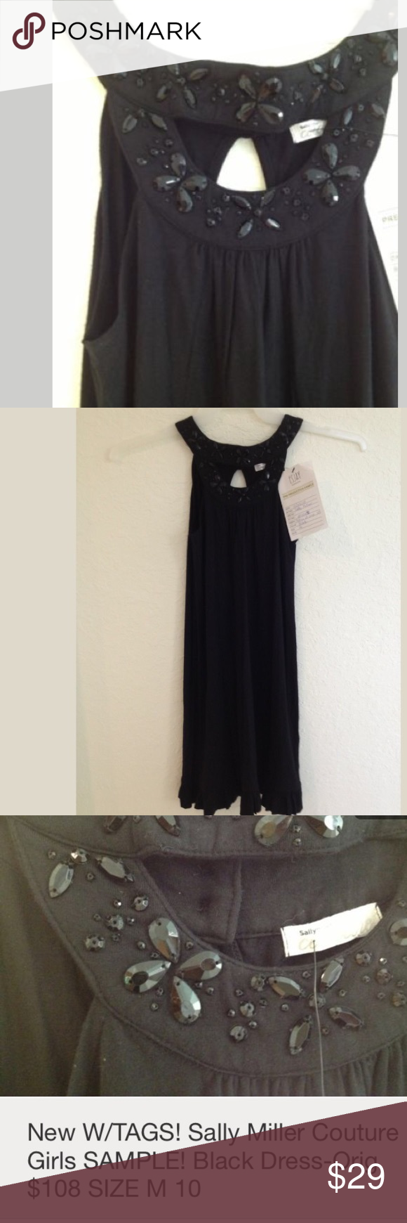 Sally miller couture girls blk heavily jewel dress boutique lord
