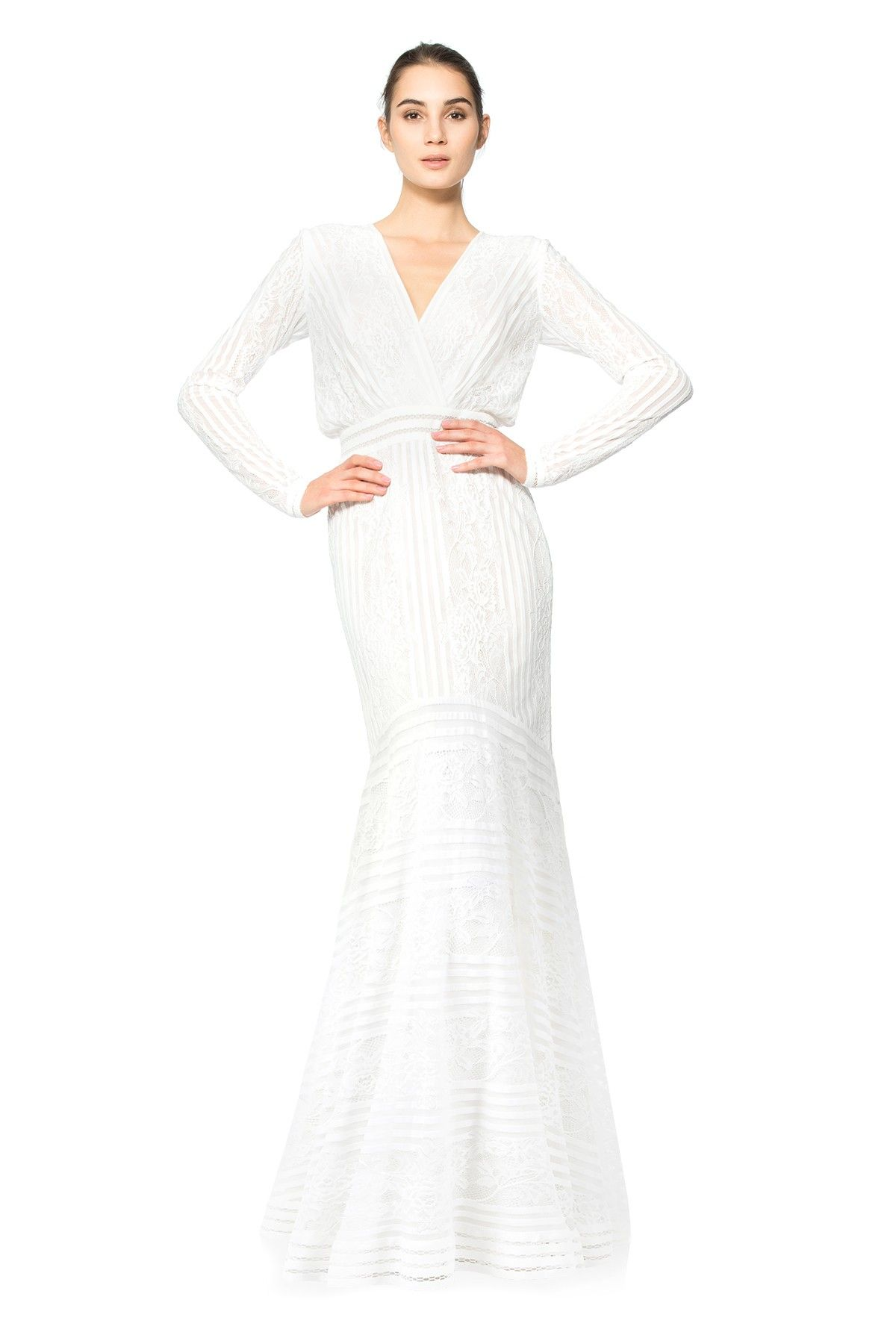Stripe knit and floral lace long sleeve gown tadashi shoji my