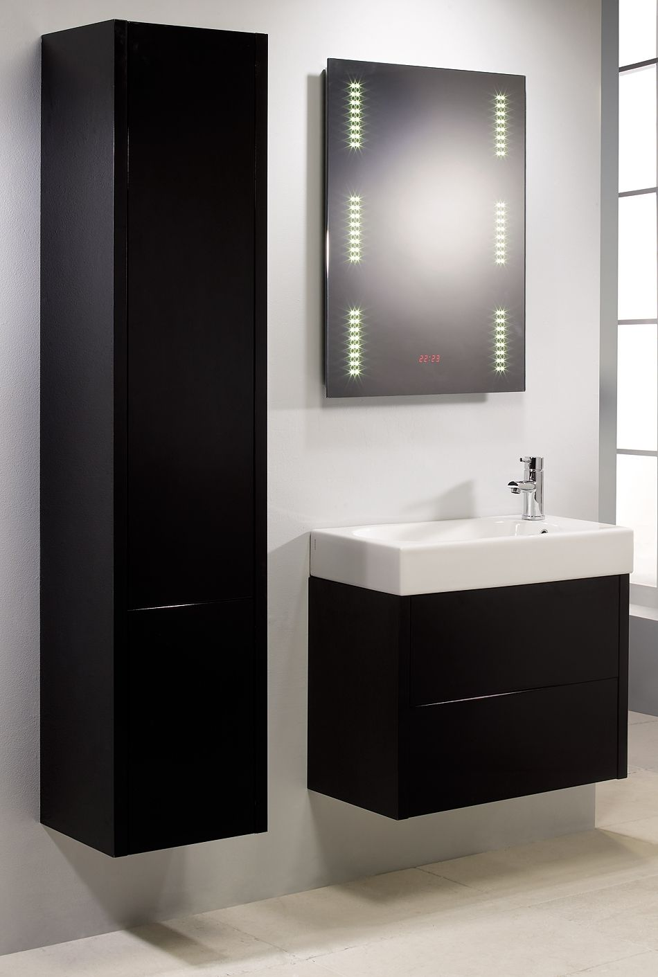 Bathroom Black Rectangle Vanity With White Sink Plus Light Mirror For Measurements 950 X 1411 Black Cabinets Bathroom Black Bathroom Tall Bathroom Storage