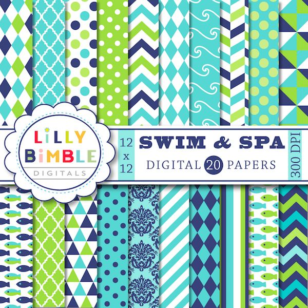 Swim Spa Digital Paper 20 Navy Blue Lime Green And Turquoise