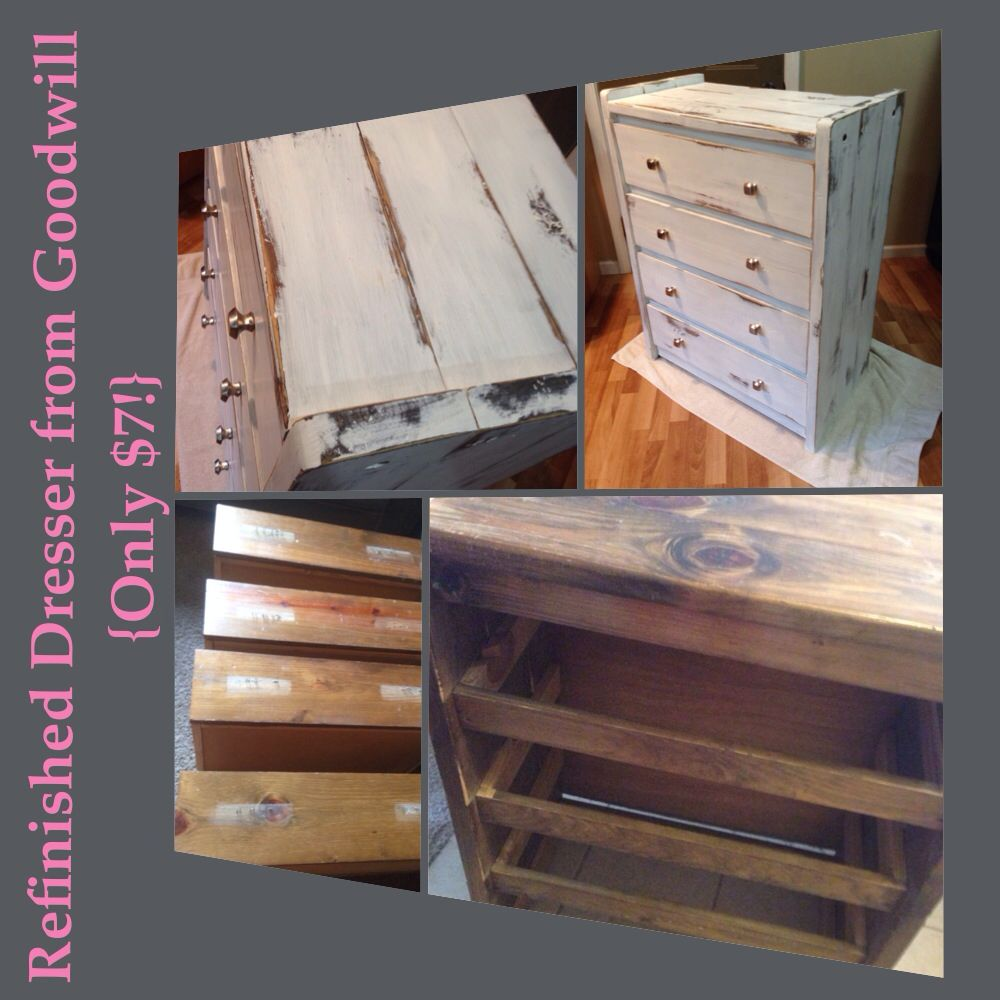 $7 Dresser from Goodwill--1) Took off the old wooden knobs 2)Sanded 3) Painted & Distressed 4) Waxed 5) Added Knobs