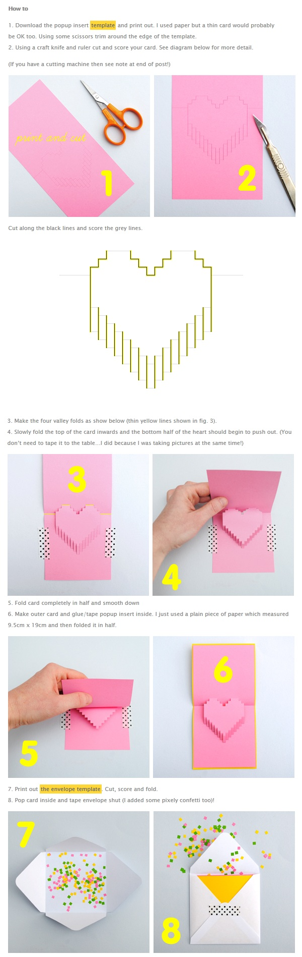 Valentines Day Pixelated Popup Card Paper Crafts Valentines Cards Valentine Crafts