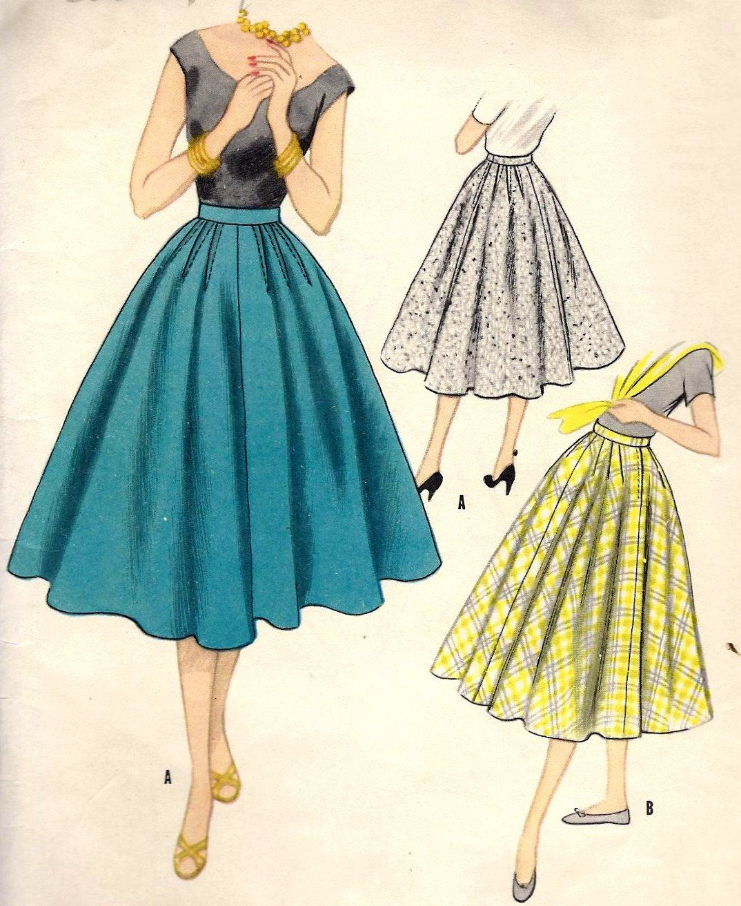 1950s Misses\' Skirt with Outside or Inside Hip Darts Vintage Sewing ...