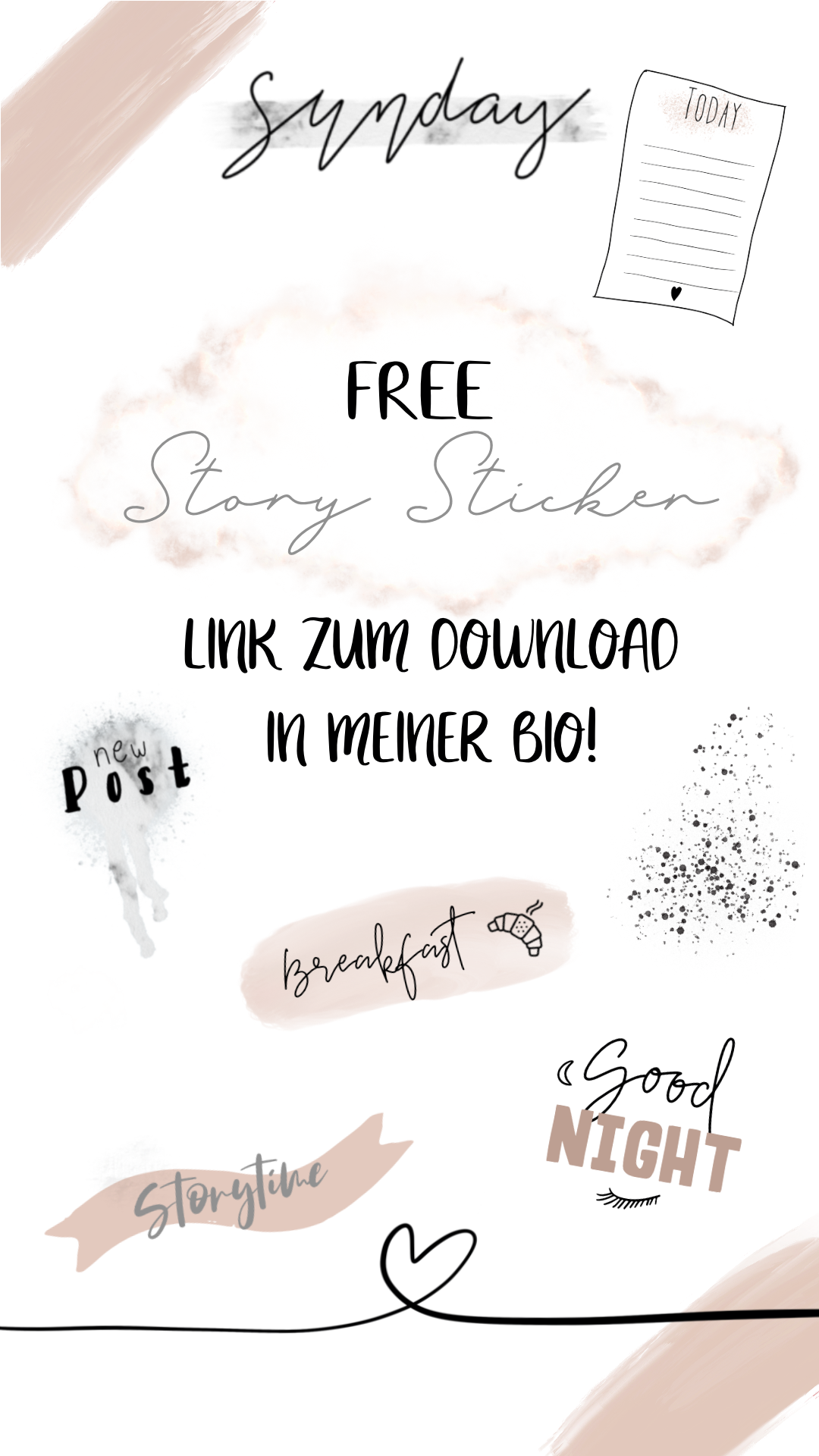 Free Story Sticker, Link in my Bio, Story Elements