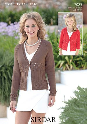 Sirdar Cotton Dk Cardigans Knitting Pattern 7085 Knit Patterns